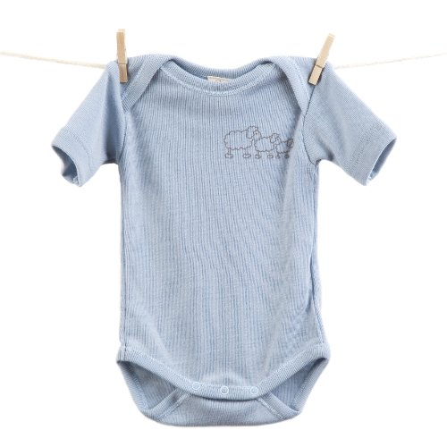 Poppet Natural Merino Baby Body Suit, Short Sleeve Onesie