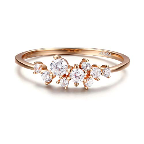 Indigo Blonde Diamond Cluster Ring for Women in Sterling Silver Dainty Stackable Ring 14K Gold Vermeil (Rose Gold, 8)