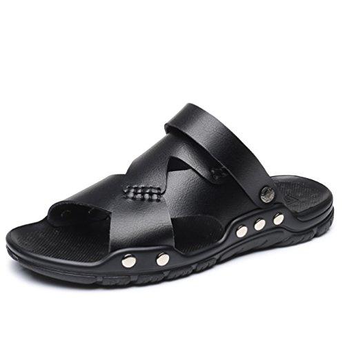 Cuero Zapatos Hombres Negro de Hombres Cómodos Verano Libre de Playa Sandalias Zapatillas al Aire tRxtFT