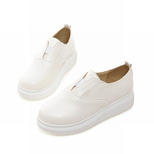 Show Shine Womens Solid Color Platform Mid Heel Loafers Shoes White qSSYbE