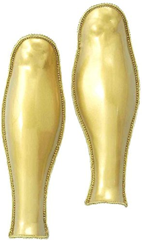 Forum Deluxe 2-Piece Roman Costume Leg Armor, Gold, One Size