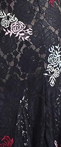 Betsy & Adam Femmes Robe Fourreau Floral Brodé Noir 4