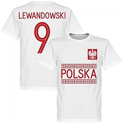 RE-TAKE(リテイク) No.9 レバンドフスキ ポーランド代表 2018 Team Tシャツ(ホワイト) (インポートM)