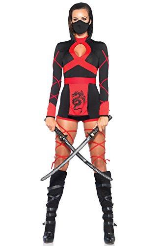 (Leg Avenue Women's 3 Piece Dragon Ninja Costume, Black/Red,)