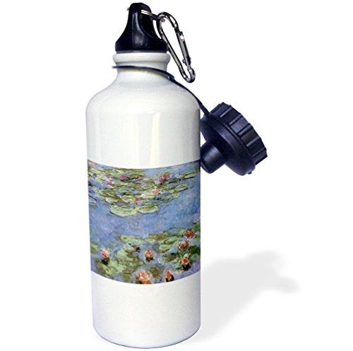 3dRose wb_164644_1 Water Lilies Vintage Monet Sports Water Bottle, 21 oz, White