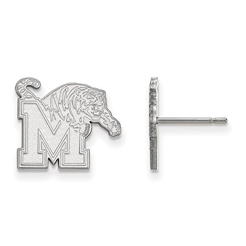 10k White Gold LogoArt Official Licensed Collegiate University of Memphis (UofM) Small Post Earrings by LogoArt