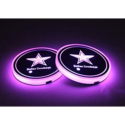DIY12345 LED Cup Holder Lights, 2 Pack Car Coasters for NFL-Dallas Cowboys with 7 Colors Changing USB Charging Mat, Luminescent Cup Pad Interior Atmosphere Lamp Decoration Light: Automotive