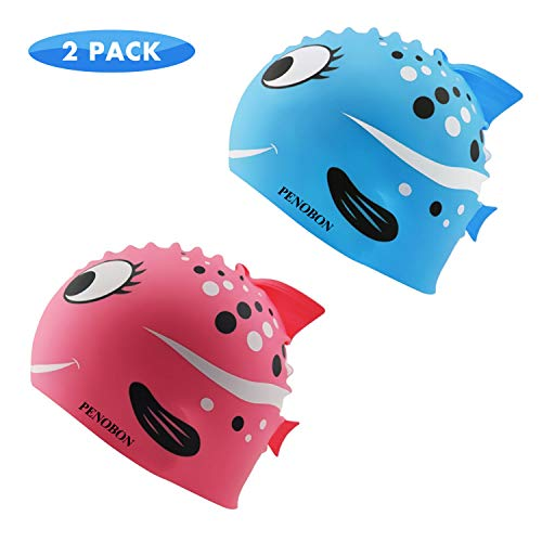 Kids Swim Cap 2 Pack, Fun Silicone Swim Caps for Boys and Girls, Fit for Children 3-12 (Nemo Swim Cap)
