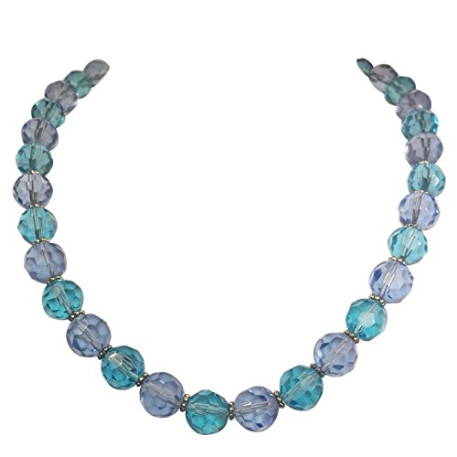 Single Strand Multi Color Glass Beaded Necklace (Blue - Necklace Tone Jewel