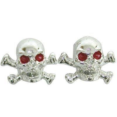 Trik Topz Skull and Bones Valve Caps pr. Chrome