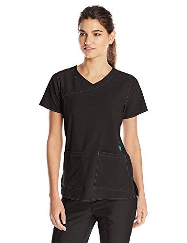 Carhartt Women's Cross-Flex Y-Neck Scrub Top, Black, XX-Large