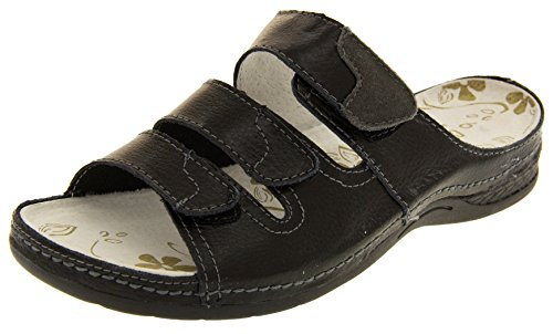 Funda de piel Velcro para mujer y pedrería para mujer traje de neopreno para mujer tamaño de la funda de pantallas planas o espacios Comfy enfriadores de zapatos de Sz 4 5 6 7 8 negro - negro