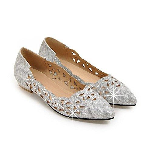xie Femmes Flat Shoes Creux à Tête Pointue Mode Casual Asakuchi Sandales Confortables Argent