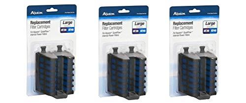 Aqueon Replacement Filter Cartridges, 6 Large, for QuietFlow Internal Power Aquarium Filters (Aqueon Replacement Filter Cartridges Large 6 Pack)