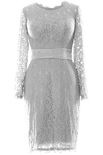MACloth Women Long Sleeve Lace Short Cocktail Dress Wedding Party Evening Gown Blanco