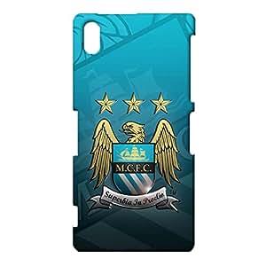 3d Manchester Logo Phone Case, Primera Division De Liga Classic Offical Style Manchester City FC Logo Hard Case 3D Superbia In Proelio MCFC Logo Design for Sony Xperia Z2