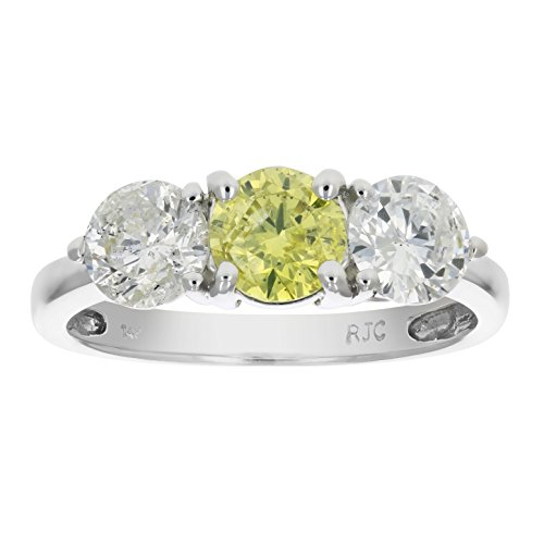 2 CT 3 Stone Yellow & White Diamond Ring 14K White Gold In Size 7 (Available In Sizes 5 – 10)