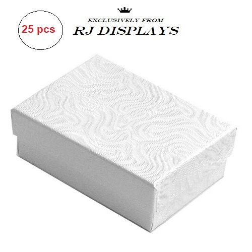 White Chain Jewelry Box (RJ Displays- 25 Pack Cotton Filled White Jewelry Box for Pendant, Charm, Bracelet, Anklet, Ring, Earring, Necklace Chain Jewelry and Small Gift 2 5/8
