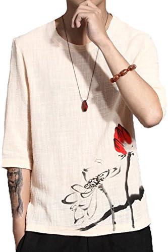 和柄 メンズ tシャツ ティーしゃつ メンズ 半袖 ティシャツ メンズ 綿麻リネン おしゃれ プリントTシャツ トップス インナー ボーイズ 男の子 Tシャツ カジュアル シャツ ゴルフウェア 上着 通勤 通学 運動 日常用 M-5XL