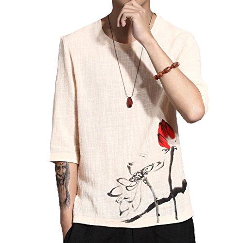 [XINXIKEJI] 和柄 メンズ tシャツ ティーしゃつ メンズ 半袖 ティシャツ メンズ 綿麻リネン おしゃれ プリントTシャツ トップス インナー ボーイズ 男の子 Tシャツ カジュアル シャツ ゴルフウェア 上着 通勤 通学 運動 日常用 M-5XL