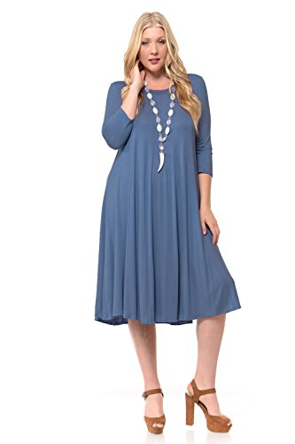 Pastel by Vivienne Women's A-Line Trapeze Midi Dress Plus Size XXX-Large Denim - Stretch Dress Knit Denim