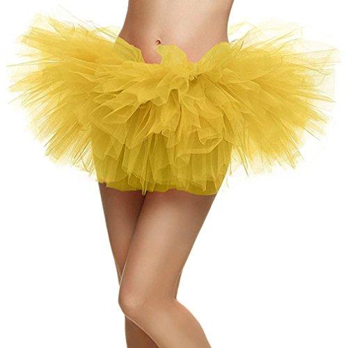 Women's Adult 5 Layered Tulle Mini Tutu Skirt, (Yellow Tutu For Adults)