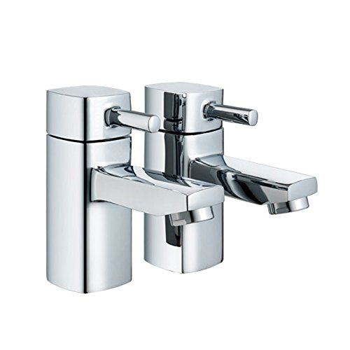 Modern Chrome Square 1/2' Bathroom Basin Taps (Hot & Cold Twin) Tailored-Plumb