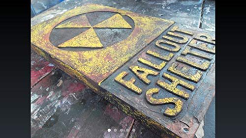 Wooden Radioactive Fallout Shelter Sign (pick one from the four) measure: approx. 8 X 14