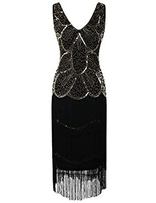 Kayamiya 1920s Vintage Inspired Beads Sequin Embellished Fringe Prom Flapper Dress