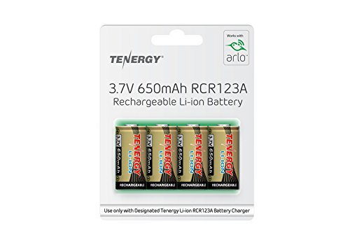Arlo Certified: Tenergy 3.7V Arlo Battery 650mAh 16340 Battery, RCR123A Lithium-Ion Rechargeable Batteries for Arlo Security Camera (VMC3030/3200/3230/3330/3430/3530), UL UN Certified, 4-Pack