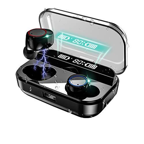 【2020第3世代進化版 Bluetooth5.0 EDR搭載 4000mAh充電ケース 最大500分間音楽再生 LEDディスプレイ】Bluetooth イヤホン ワイヤレス イヤホン IPX7完全防水 電池残量インジケーター付き Hi-Fi 高音質 AAC対応 最新bluetooth 5.0+EDR搭載 ブルートゥース イヤホン ハンズフリー通話 左右分離型 自動ペアリング 音量調節可能 技適認証済/Siri対応/ iPhone & Android対応 ブラック