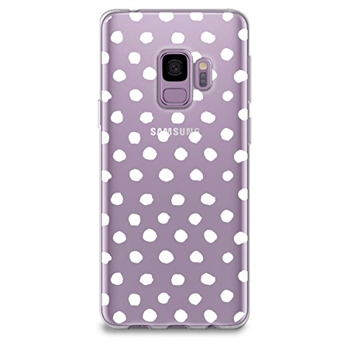 CasesByLorraine Samsung S9 Case, White Polka Dots Pattern Clear Transparent Case Flexible TPU Soft Gel Protective Cover for Samsung Galaxy S9 - Colorful Dots Cover Polka