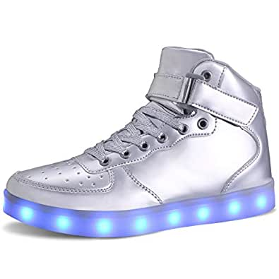 MILEADER USB Charging Light Up Shoes Silver Sports LED Shoes Size 6 Women 4.5 Men Fashion Sneakers for Women Men