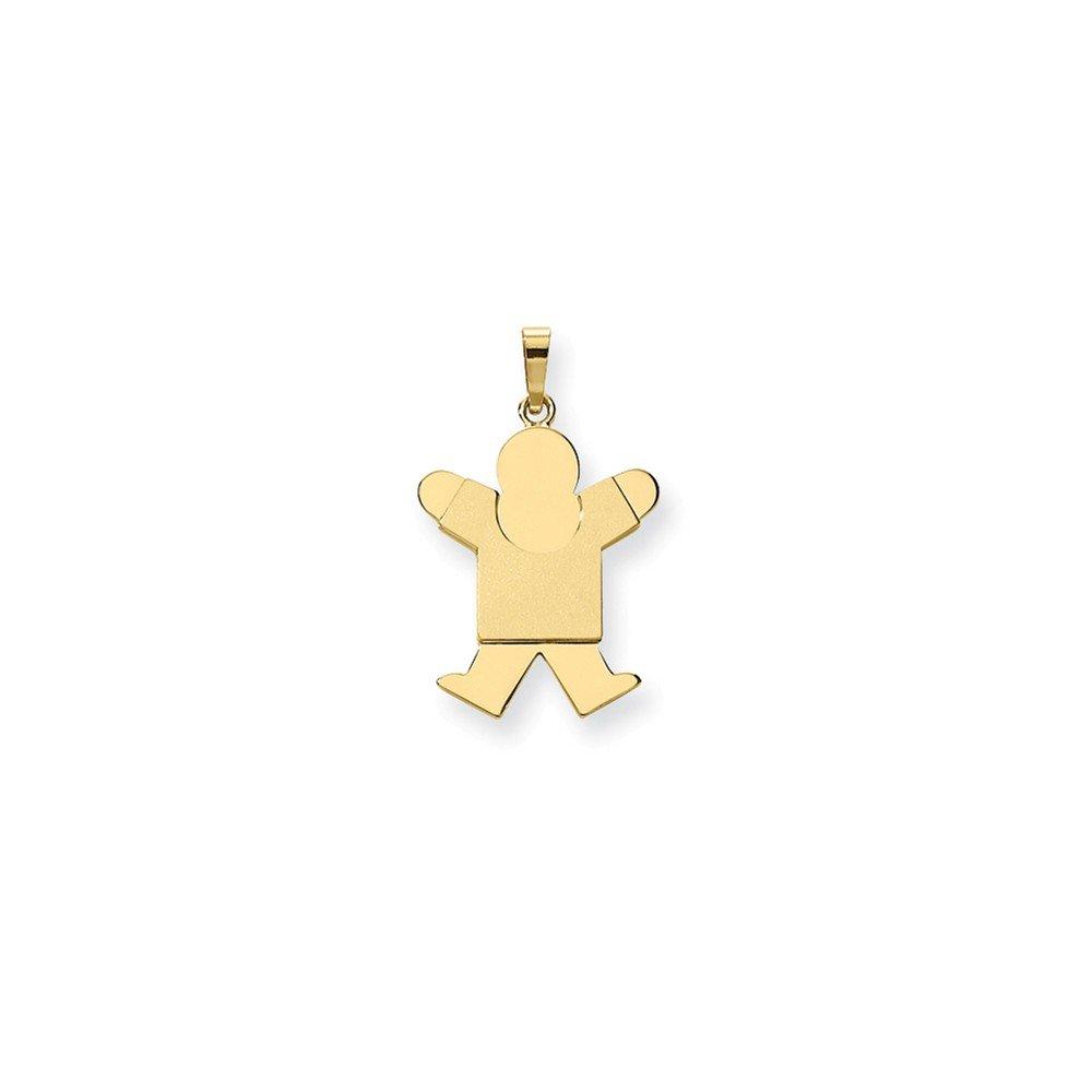 Best Designer Jewelry 14k Solid Satin Engravable Boy Jumping Charm