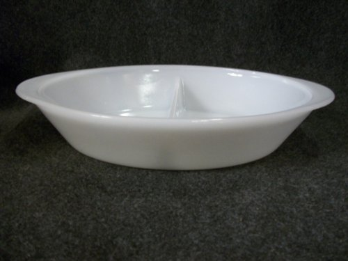 Vintage Kitchen Glass Casserole (Vintage Glasbake White Milk Glass Divided Oval Casserole Baking Dish Oven Ware)