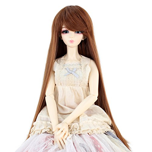Human Hair Doll Wig - Synthetic Long Straight 9-10 Inch 1/3 BJD MSD DOD Pullip Dollfie Doll Wig Hair Accessories Not for Human (Light Brown)
