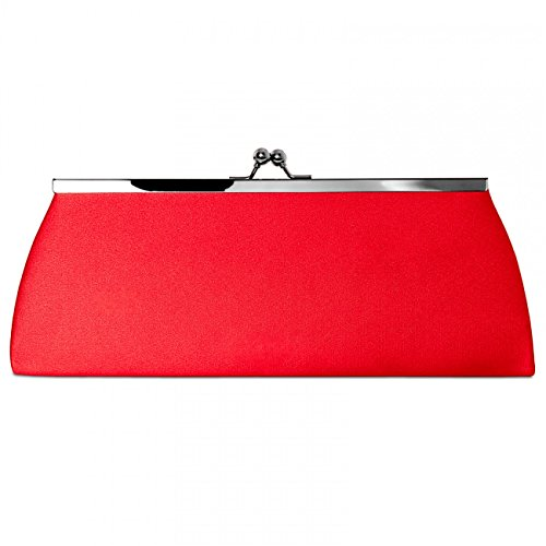 colours Classic Evening TA309 Elegant Clasp many Metal CASPAR Clutch Womens Satin Bag Red with Ix1qZ