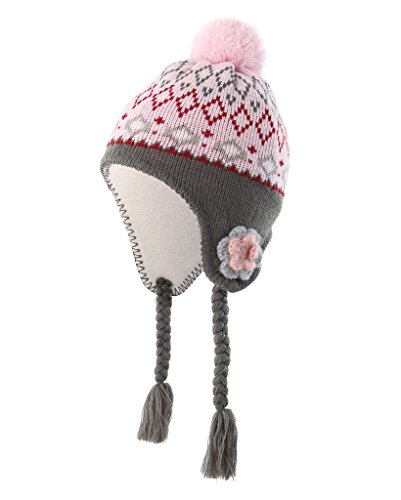 Home Prefer Toddler Girls Hats with Soft Fleece Lining Crochet Flowers Earflaps Hat Pink Peruvian Hat M
