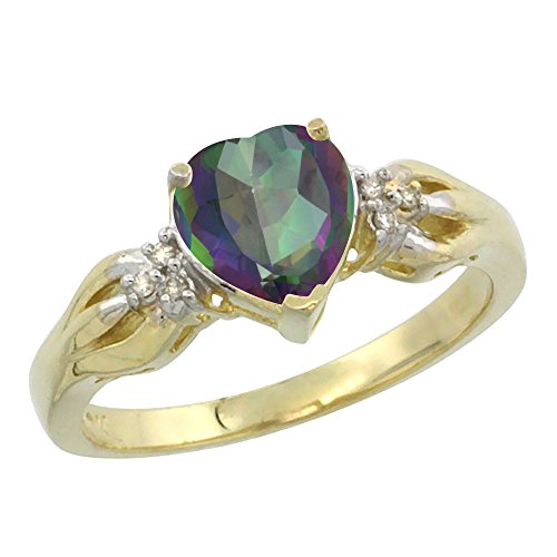 Gold Mystic Topaz Ring - 14K Yellow Gold Natural Mystic Topaz Ring Heart-shape 7x7mm Diamond Accent, size 10