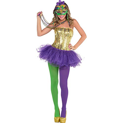 Party City Adult Venetian Mardi Gras Costume, 6 Pieces, Includes Tutu and Necklaces -