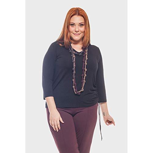 Blusa Franzido Lateral Plus Size Preto-50