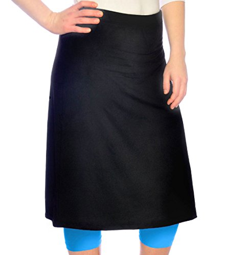 Kosher Casual Women's Large Knee Length Black Running Skirt With Blue Splash Leggings