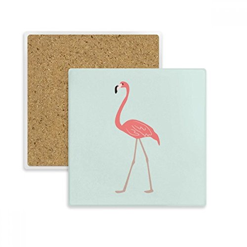 (Walking Flamingo Pattern Square Coaster Cup Mug Holder Absorbent Stone for Drinks 2pcs Gift)