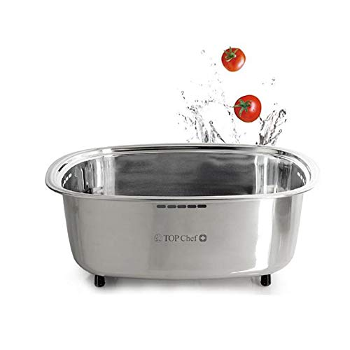 Top Chef Stainless Steel Washing-up Bowl Dishpan for Sink Wash Basin - Silver