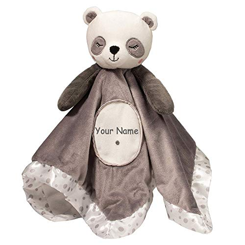 Personalized Grey and White Panda Bear Lil Snuggler Blanky for Baby Boy or Baby Girl Blanket]()