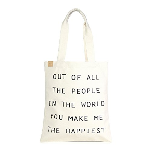 Me Plus Eco Cotton Canvas Stylish Printed Fashion Shopping and Travel Tote Bag (OUT OF ALL THE PEOPLE IN THE WORLD)