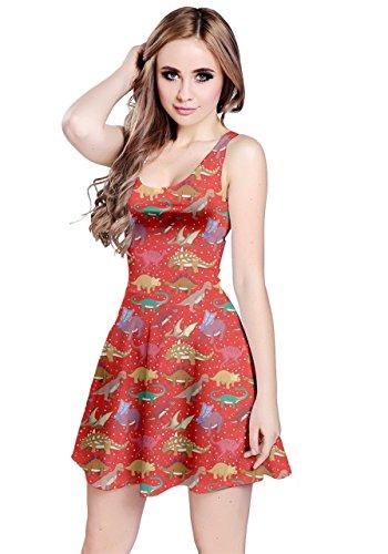 Rosso 5xl Cowcow Tirannosauro Elegante Festa Womens Estiva Dinosauro Dress Maniche Xs Senza 6Pwq714