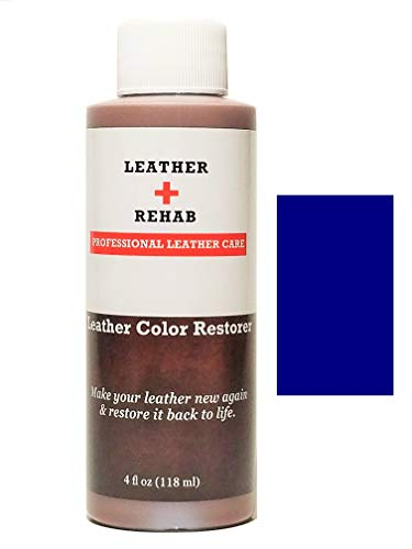 Leather Rehab Leather Color Restorer - Repair & Restore Faded, Worn and Scratched Leather & Vinyl Easily with No Kit - Furniture, Couch, Car Seat, Shoes, Jacket and Boots - 4 oz. Navy Blue (Furniture Navy Leather)