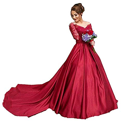 Off The Shoulder Prom Dresses with Lace Ball Gown Wine Red Evening Dress Long Sleeve Court - Long Train Court Sleeve