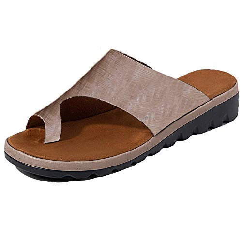 Chenghe Women's Flip Flop Wedge Sandal Comfort Open Toe Thong Slid Slippers Summer Beach Travel Sandal Shoes Khaki US 6